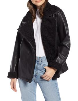 Aviator Leather Jacket by Something Navy