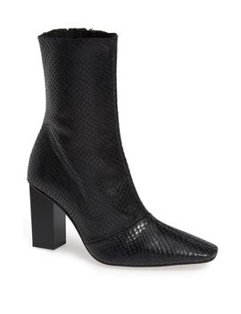 Henna Snake Embossed Leather Bootie by Topshop