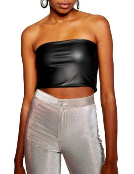 Faux Leather Bandeau Top by Topshop