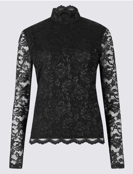 Lace Funnel Neck Long Sleeve Top by Marks & Spencer