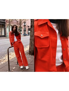 70's Orange Velvet Striped Suit / Medium by Etsy