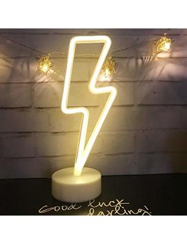 Led Lightning Sign Night Light,Neon Lightning Shaped Decor Light With Holder Base,Table Light Marquee Signs/Wall Decor For Christmas,Birthday Party,Kids Room,Living Room,Wedding Decor(Warm White) by Qiao Fei