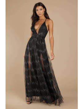 You're A Firework Black Plunging Maxi Dress by Tobi