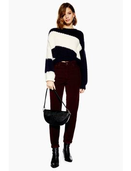 Burgundy Corduroy Mom Jeans by Topshop