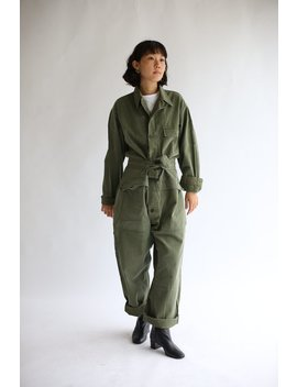 Vintage Green Herringbone Twill Coverall  | Green Army Coverall | Green Jumpsuit | Flight Suit Studio Ceramic Painter Onesie | Boilersuit by Etsy
