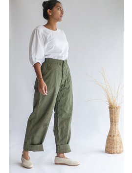 Vintage 26 27 28 29 30 Waist Olive Green Field Trouser | 100 Percents Cotton Utility Fatigues Military Army Pants | Artist Pant by Etsy
