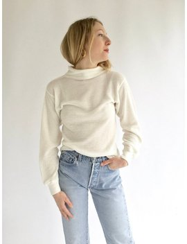 Vintage White Waffle Knit Mock Turtleneck | 70s 80s White Thermal | Waffleknit Cotton Blend Military Henley | Vietnam Shirt by Etsy