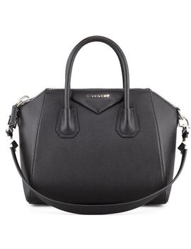 Antigona Small Sugar Goatskin Leather Black Satchel by Givenchy