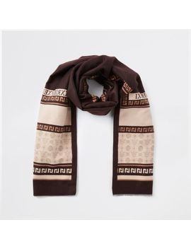 Brown Ri Print Blanket Scarf by River Island
