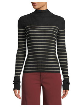 Striped Mock Neck Cashmere Sweater by Vince
