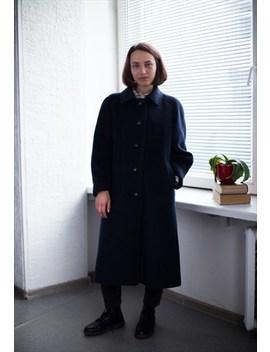 Vintage 80's Navy Mohair Wool Coat by Wardrobe Queen