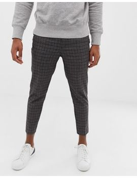 New Look Skinny Fit Smart Joggers In Gray Check by New Look
