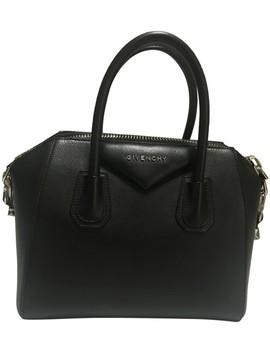 Small Antigona Black Goat Skin Leather Satchel by Givenchy