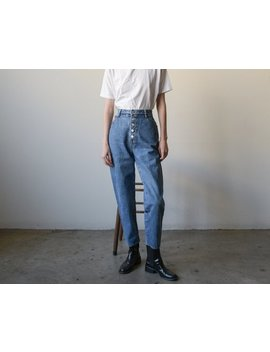 Bongo Blue High Waist Tapered Jeans / 80s Button Fly Denim / 13 / 29 Waist / 4277t by Etsy