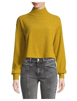 Blaine Button Back Turtleneck Cropped Metallic Knit Sweater by Tularosa