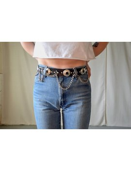 Leather And Chain Western Belt / Black Leather Belt / Waist Cinch Belt / Womens Belt by Etsy