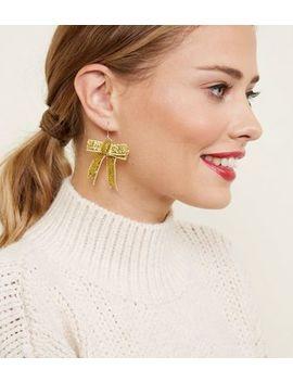 Gold Glitter Bow Earrings by New Look
