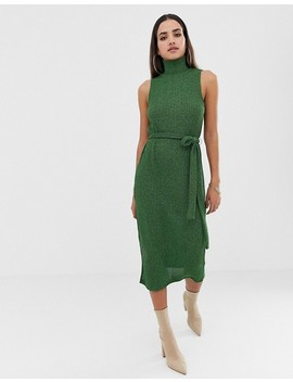 Asos Design High Neck Marl Rib Midi Dress With Self Belt by Asos Design