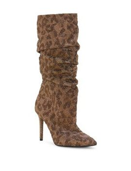Laraine Ruched Leopard Print Glitter Stiletto Boots by Jessica Simpson