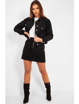 Black Corduroy Trucker Jacket Skirt Co Ord   Dhiya by Rebellious Fashion