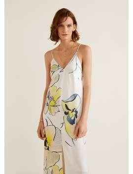 Атласное платье с цветами by Mango