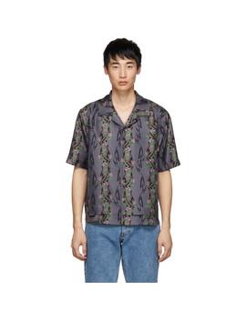 Purple Silk Print Shirt by Keenkee