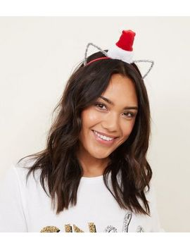 Red Santa Hat Christmas Cat Ears by New Look