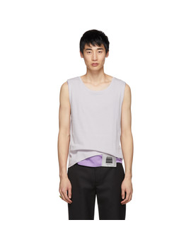 Off White & Purple Layered Tank Top by Keenkee