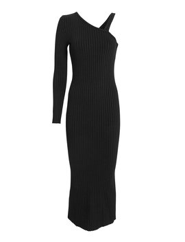 Ribbed Slanted Midi Dress by The Range