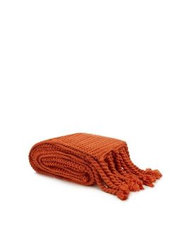 Home Collection   Orange Knitted Throw by Home Collection