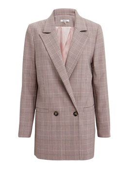 Suiting Silver Pink Plaid Jacket by Ganni