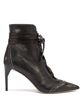 Point Toe Lace Up Leather Ankle Boots by Miu Miu