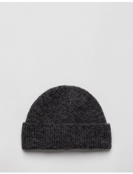 Asos Design Mini Fisherman Beanie In Brushed Charcoal by Asos Design
