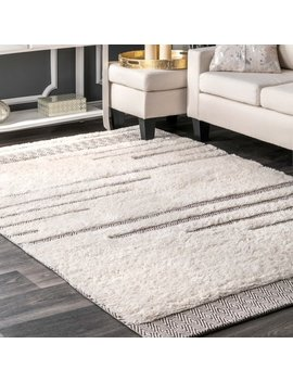 Nu Loom Moroccan Abstract Ivory Wool/Cotton Stripe Shag Rug (5' X 8') by Nuloom
