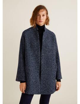 Melierter Mantel Mit Textur by Mango
