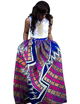 Womens African Floral Maxi Dress High Waist A Line Long Skirts With Pockets by Lewego