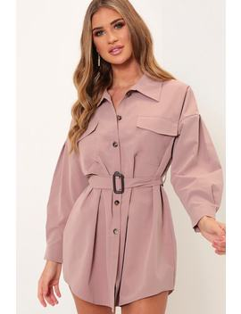 Pink Drop Shoulder Belted Shirt Dress by I Saw It First