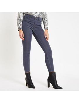 Grey Mid Rise Raw Hem Molly Jeggings by River Island