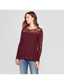 Women's Long Sleeve Crochet Waffle Blouse   Knox Rose™ by Knox Rose