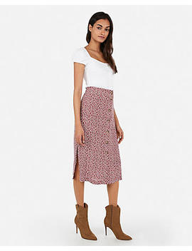 High Waisted Button Front Midi Skirt by Express