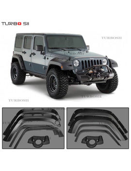 Black Pocket Style Front Rear Fender Flares For Jeep Wrangler Jk 2007 2017 4 Pcs by Turbo Sii