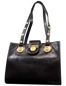 Medallion Tote 230515 Black Leather Shoulder Bag by Versace