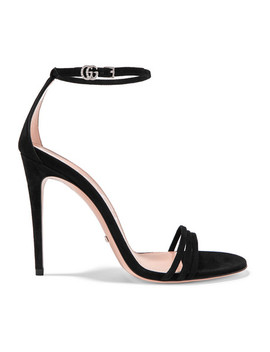 Ilse Crystal Embellished Suede Sandals by Gucci