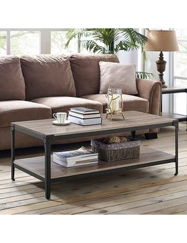 Angle Iron Rustic Wood Coffee Table   Driftwood by Pier1 Imports