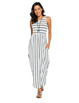 Hount Women's Summer Sleeveless Striped Flowy Casual Long Maxi Dress With Pockets by Hount