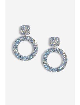 Glitter Drop Circle Earrings by Topshop