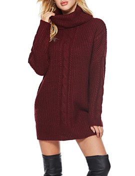 High Neck Cable Knit Sweater Dress by Sheinside