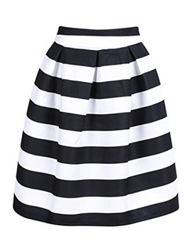 Ch Oi Es Record Your Inspired Fashion Women's Color Block Houndstooth Print High Waist Pleated Skater Midi Skirt by Ch Oi Es Record Your Inspired Fashion