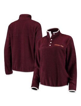 Virginia Tech Hokies Chicka D Women's Looped French Terry Snap Pullover Sweatshirt – Maroon by Chicka D