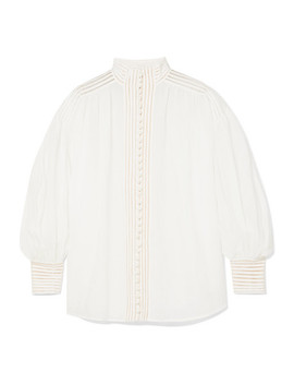 Corsage Crochet Trimmed Ramie Blouse by Zimmermann